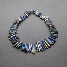 Raw Titanium Rainbow cuarzo Crystal Points palillos, Druzy cristal de roca colgante picos azules galvanizado perforados Beads Briolettes