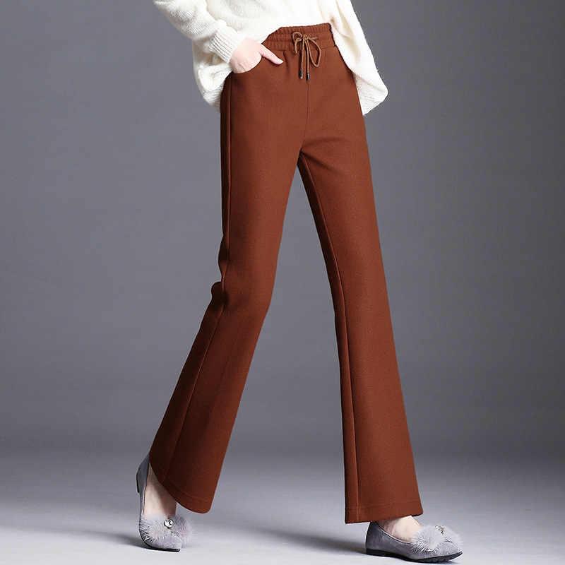 893987b7b70 Nonis Women Thick Woolen High Waist Flare Pants Femme Autumn Winter Warm  Slim Fit Ol Style