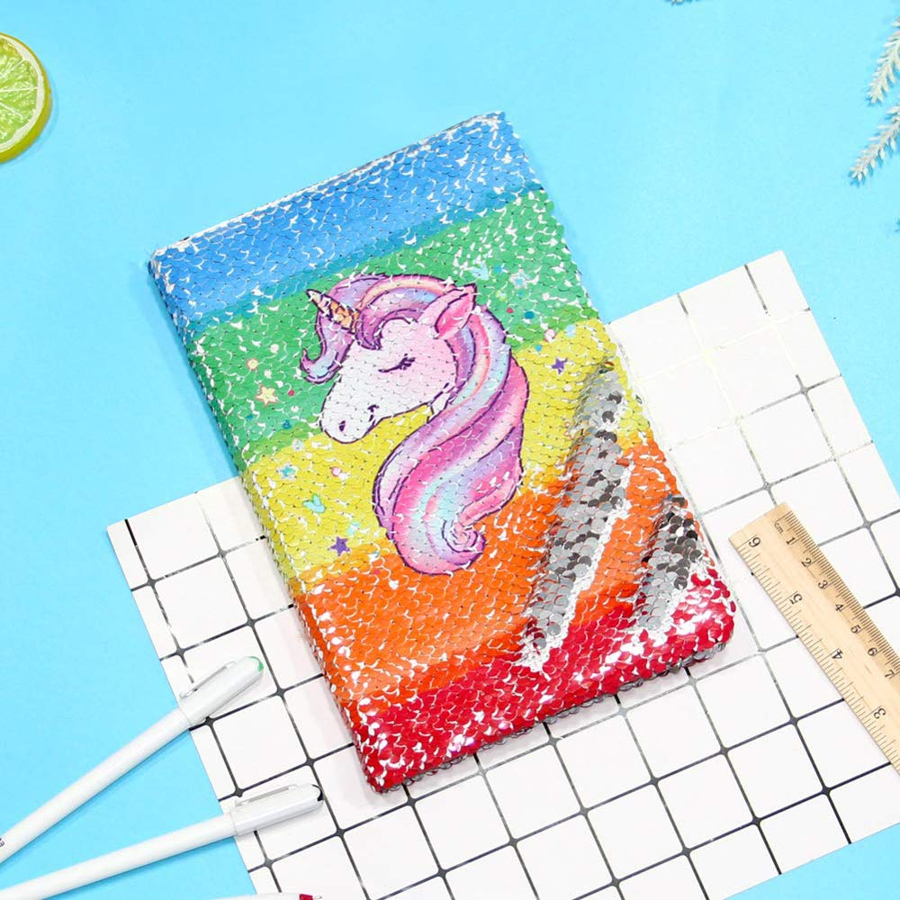 Bignosedeer INS Unicorn Planner Book Suit  Sequin Notebook Hand-book Students' Supply Office Stationery Learning Gift For Girl
