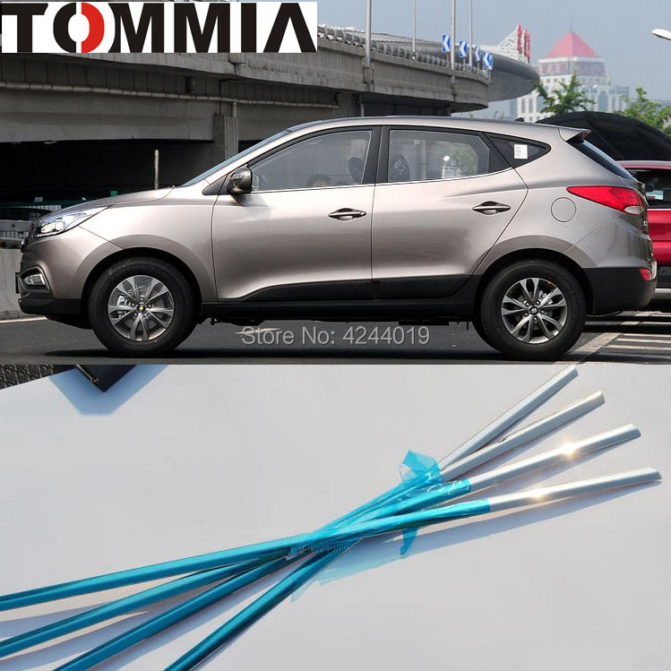 TOMMIA 4pcs Stainless Steel Chrome Bottom Window Frame Sill Trim For Hyundai IX35 Car Accessories stainless steel full window with center pillar decoration trim car accessories for hyundai ix35 2013 2014 2015 24