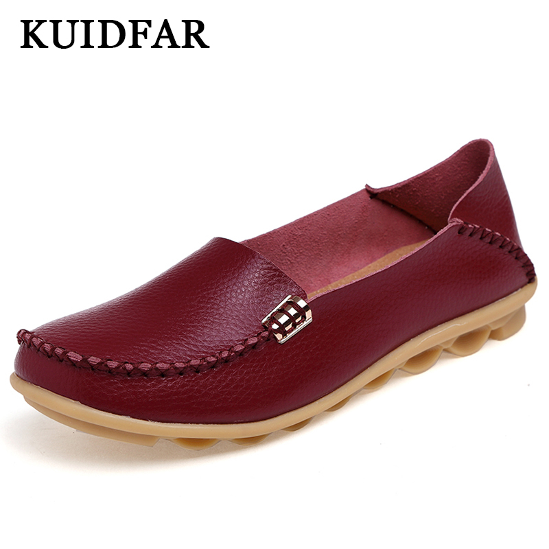 KUIDFAR Women Flats Women shoes Flat Gommino Moccasin Loafers Casual Ladies Slip Cow Driving Boat Shoes