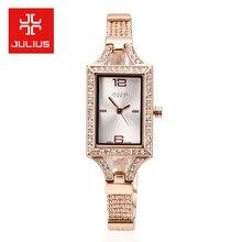 Julius Lady Woman Wrist Watch Quartz Hours Best Fashion Dress Retro Color Chain Bracelet Rhinestone Rectangle