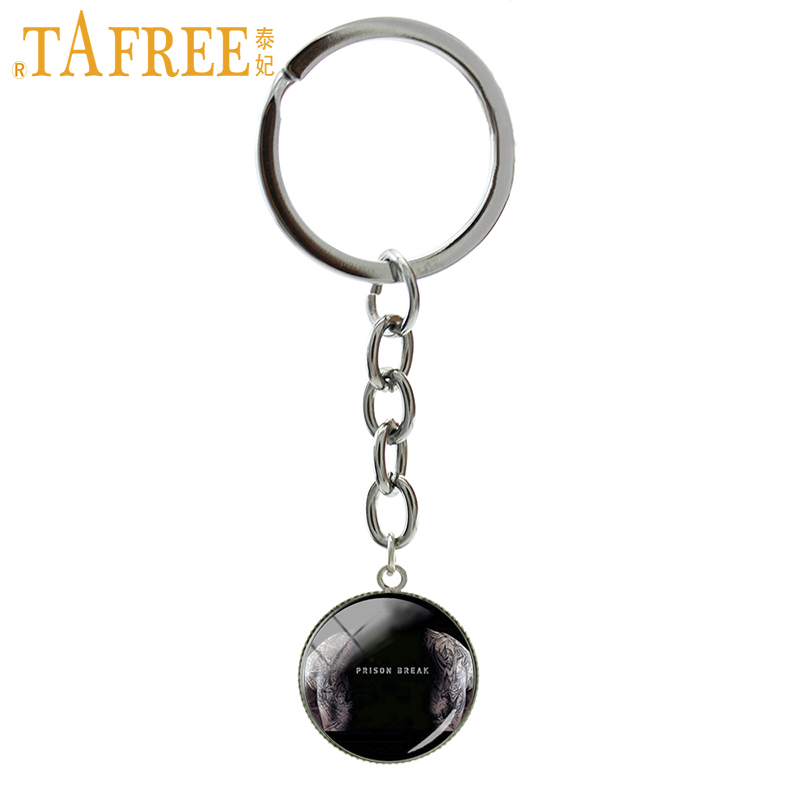 TAFREE famous movie Prison Break Teleplay art picture keychain pendant glass cabochon ring jewelry Christmas gift for men NS451