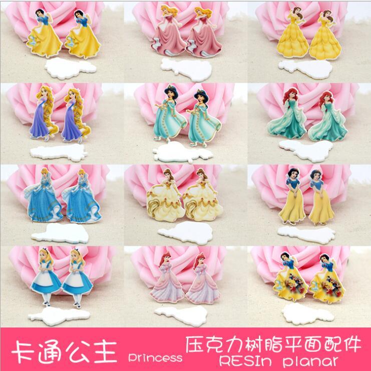 10pcs/lot Kawaii Planar Resin Cabochons Resin  Princess  Resin Flatback Resin Crafts Accessories