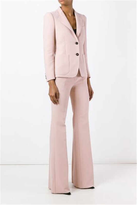 Pink Ladies Pantsuit Custom Made Business Pant Suits for Women Plus Size Blazer+bell-bottoms for Work Pantsuit for Wedding Party