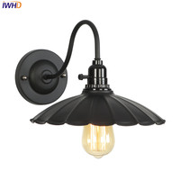 Iwhd nordic loft conduziu a lâmpada de parede ferro preto retro wandlamp industrial do vintage conduziu a luz parede com interruptor applique murale luminária