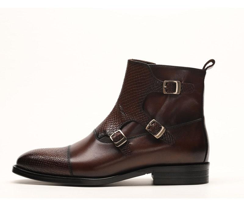 QYFCIOUFU Marke Neue männer Stiefel Aus Echtem Leder Männer Kleid Stiefel Schuhe Männlichen Britischen Chelsea Schnalle Herren Arbeit Stiefel - 3