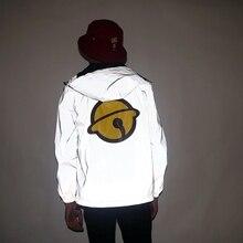 Aolamegs Men Jacket Cute Printed Hooded Thin Windbreaker Waterproof Hip Hop Zipper Reflective Outwear Streetwear