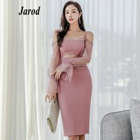 2019 Women Spring Pink Mesh Patchwork Hollow Out Sheath Dress Bodycon Beading Sexy Spaghetti Strap Pencil Dress