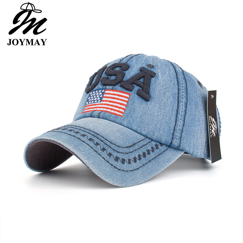 2016 New arrival high quality snapback cap cotton baseball cap USA flag embroidery hat for men women unisex cap B351