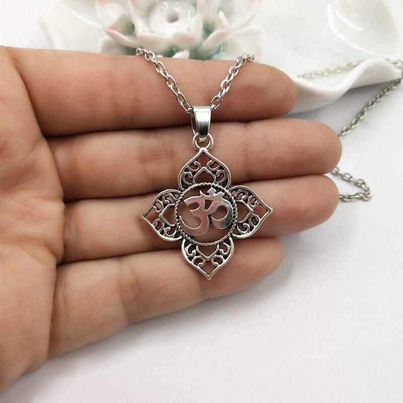Lotus Aum Om Ohm Necklace Pendant Indian Hindu Buddhist Yoga Boho Bohemian