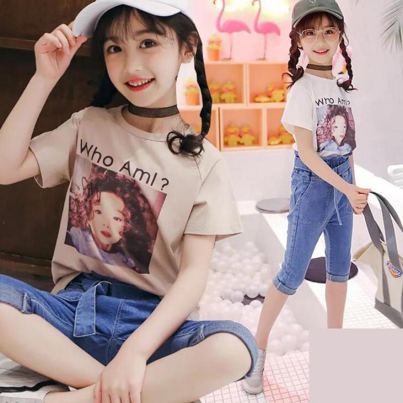 Toddler Children Kids Baby Girls Clothes Sets Summer Cotton Tops Tees + Denim Pants Jeans 2pcs Girls Clothing Sets Outfits 10 12 2pcs children kids baby girls outfit sets chiffon t shirt tops shorts sleeveless summer outfits suit cute girls clothes sets