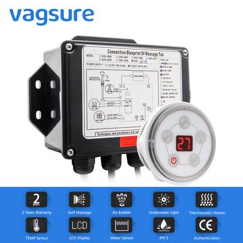 Vagsure 1 zestaw AC 110V 220V cyfrowy Panel sterowania z ekranem LCD Spa Combo woda wanna do masażu powietrza whirlpool Controller zestawy tanie i dobre opinie Osadzone Akrylowe Brak w zestawie Combo masaż (air whirlpool) DXD-A006M Rogu Podłokietniki Ociekaczem 1 6 m WHITE Fartuch