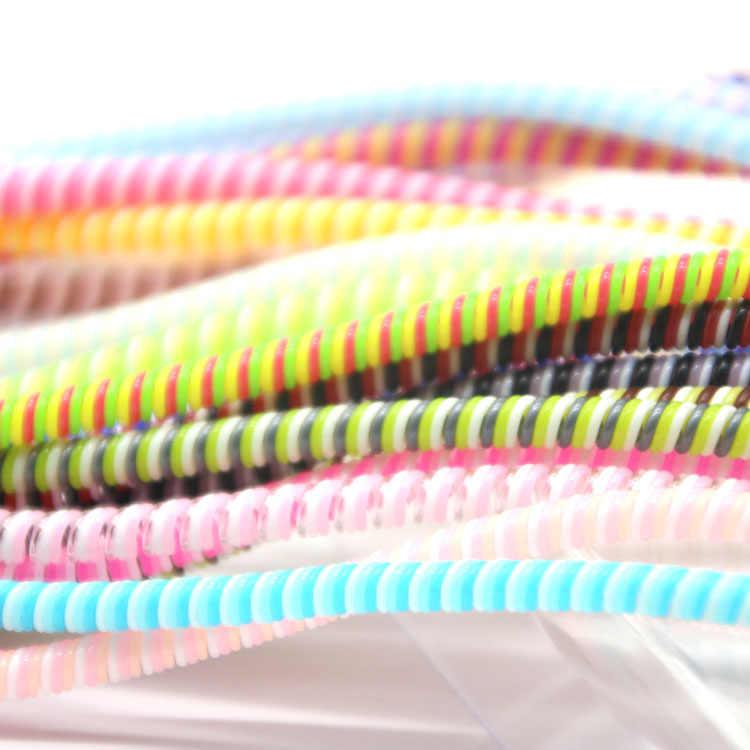 เลือก 1.4M ที่มีสีสัน TPU SPIRAL USB Charger สายเคเบิล Protector Wrap CABLE Winder สำหรับ iPhone Samsung Data CABLE