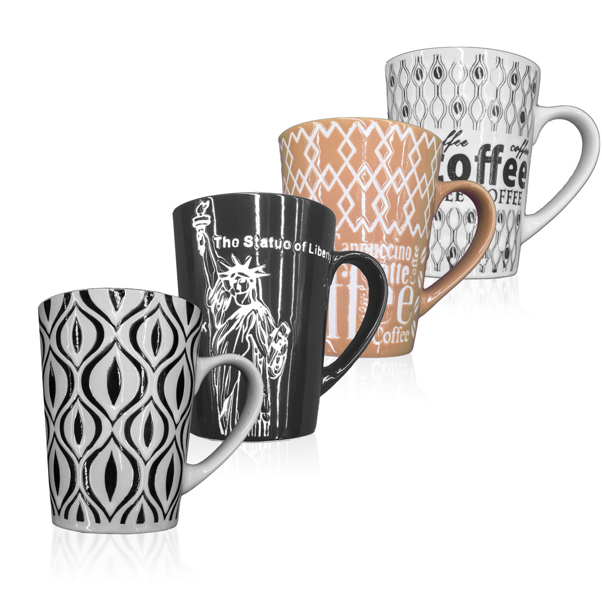 4 Pack: Decorative Ceramic High Quality Coffee Mugs with Handle - Assorted Styles парафин oneball x wax 5 pack assorted