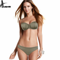 Bathing Suit 2016 Top Wavy Push Up Bikini Sexy Bandeau Brazilian Bikinis Women Bathing Suits Molded