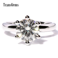 TRANSGEMS 3 Carat F Colorless Lab Solitaire Moissanite Wedding Ring With Gorgeous Diamond Accents Band For