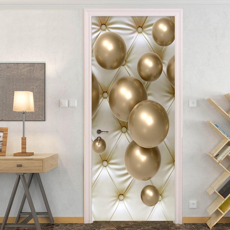 PVC Self-Adhesive Waterproof Door Sticker 3D Stereo Golden Ball Wallpaper Living Room Home Decor Paste Vinyl Door Mural Stickers