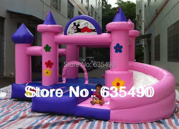 pink and blue inflatable castle, inflatable bouncer and slide combo or baby+ blower and free shipping inflatable slides inflatable castle inflatable combinations inflatable bouncer hxb 423