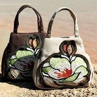 2017NEW National Floral Embroidered Bag Women's Handbag Women's Canvas Floral Pattern Female Single Handbag Travel Women Handbag