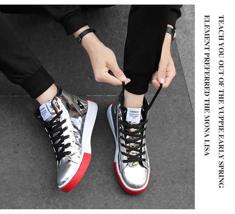 2018 Men leather casual shoes hip hop Gold fashion sneakers silver microfiber high tops Male Vulcanized shoes sizes 46 5