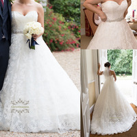 Brilliant 2019 Lace Wedding Dress Sexy Sweetheart Women Girl Bride Gown Bridal Party Ball Gown Skirt with Puffy Crystals Sashes