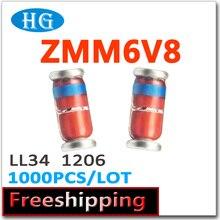 Zmm6v8 ZMM6.8V 6.8 v 1206 LL34 0.5 W 1/2 W 1000 pçs/lote 2.4 v-7.5 v smd os dados dentro Nós podemos oferecer amostras grátis de alta qualidade
