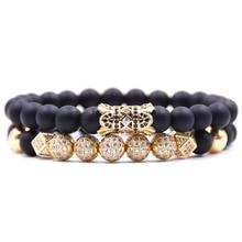 KANGKANG 2PCS/set popular 8mm Matte Black bead Bracelets For Men&Women 4 color pave CZ ball and tube charm Bracelet Jewelry 2018