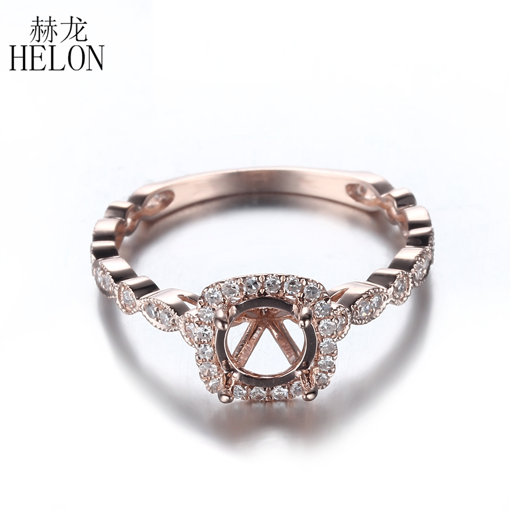 HELON Solid 10K Rose Gold Round 5mm to 6.5mm Pave Natural Diamonds Engagement Wedding Semi Mount Ring Fine Jewelry Women's Ring helon solid 10k rose gold 6mm round cut semi mount engagement anniversary band pave natural diamonds wedding fine jewelry ring