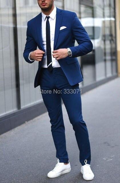 Nouveau Sur Mesure Léger Bleu Marine Marié Tuxedos Costume Décontracté Slim  Fit Hommes Mariage Bal Costumes 0264fda0206