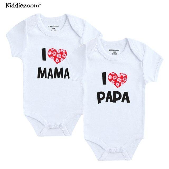 2 PCS/LOT nouveau-né bébé vêtements à manches courtes fille garçon vêtements j'aime Papa maman conception 100% coton barboteuses de bebe Costumes blanc 1