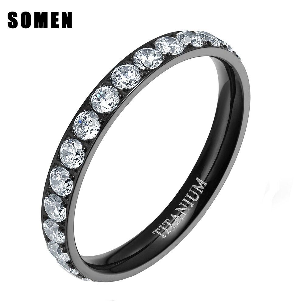 цена на 3mm Black Rose Gold Luxury Cubic Zirconia Titanium Women Wedding Rings Marriage Jewelry Engagement Ring Bague anillos