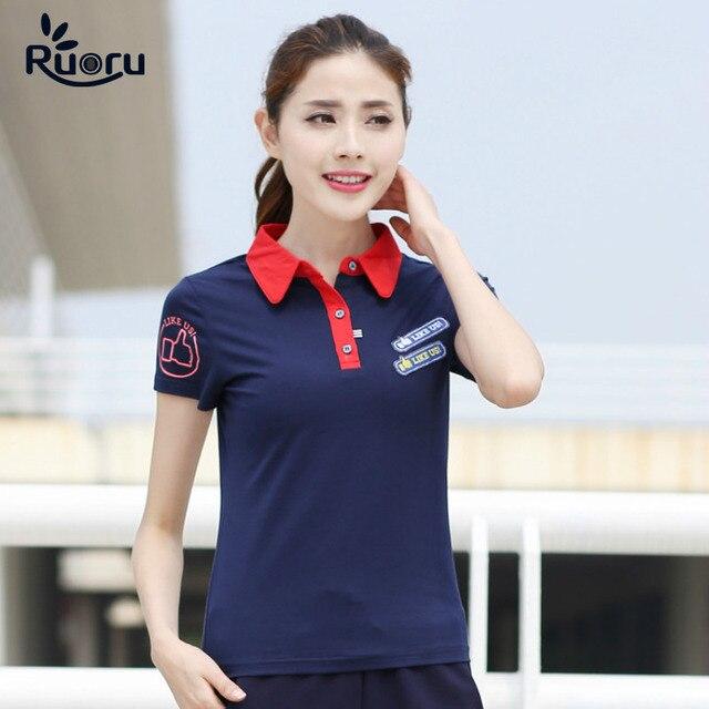 45ac20e090212 M- 6XL High Quality Women Cotton Polo Like US Printed Slim Women Polo  Leisure Business Solid Fashion Polo Femme Shirt Plus Size