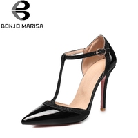 BONJOMARISA Women S Summer Sexy High Heel Pointed Toe T Strap Party Wedding Shoes Woman Less