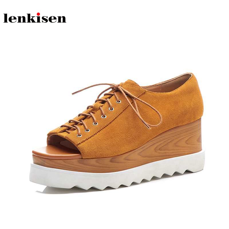 Lenkisen 2018 new arrival party peep toe platform solid cow suede causal shoes wedges high heels summer sexy women sandals L03