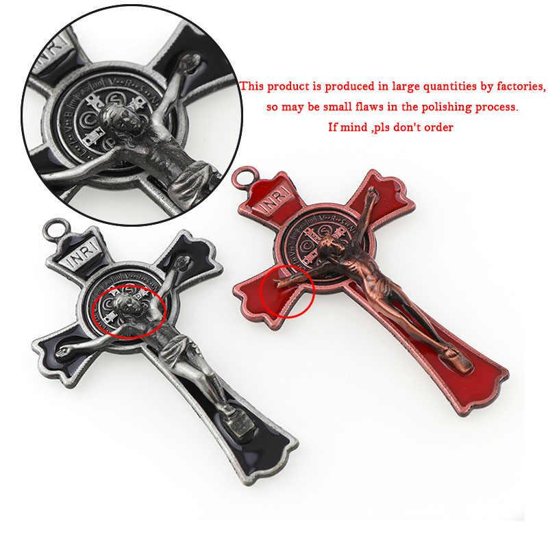カラフルなエナメルイエス十字架ダブルドロー十字架チャーム映里聖ベネディクト十字架ペンダント用ペンダント