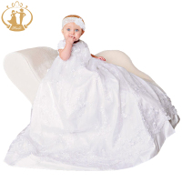 Nimble Newborn Baby Girls Christening Gowns White Lace Embroidered Baptismal NJD71743 Dress Hat Shoes