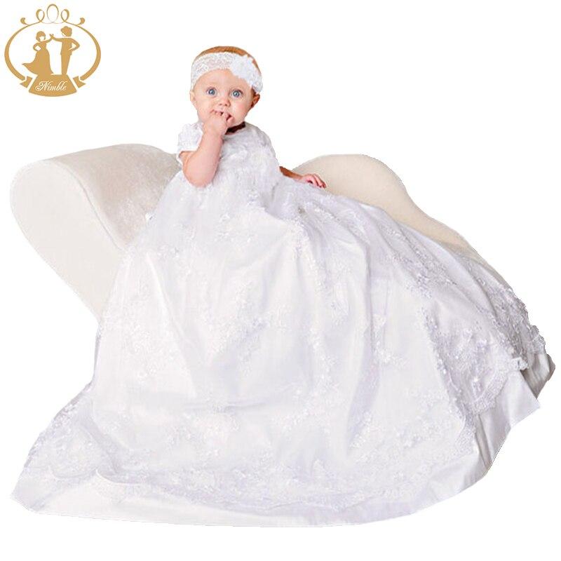 Vêtements de nouveau-nés agiles bébé filles robes de baptême dentelle blanche brodée robe de bébé robe de baptême robe infantil
