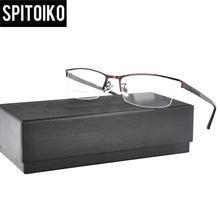 abaf407818 SPITOIKO media llanta gafas Marco de Metal con estilo cómodo templo marco  óptico miopía gafas Eyewear 2507