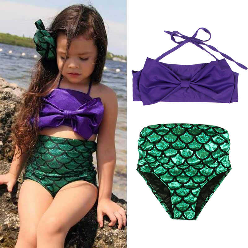 retail prices outlet store the sale of shoes Cute Mermaid Girls Swimwear Baby Bikini Sets Purple Crop Tops + Shorts Kids  Girl Swimsuits Children Bathing Suit Brand New