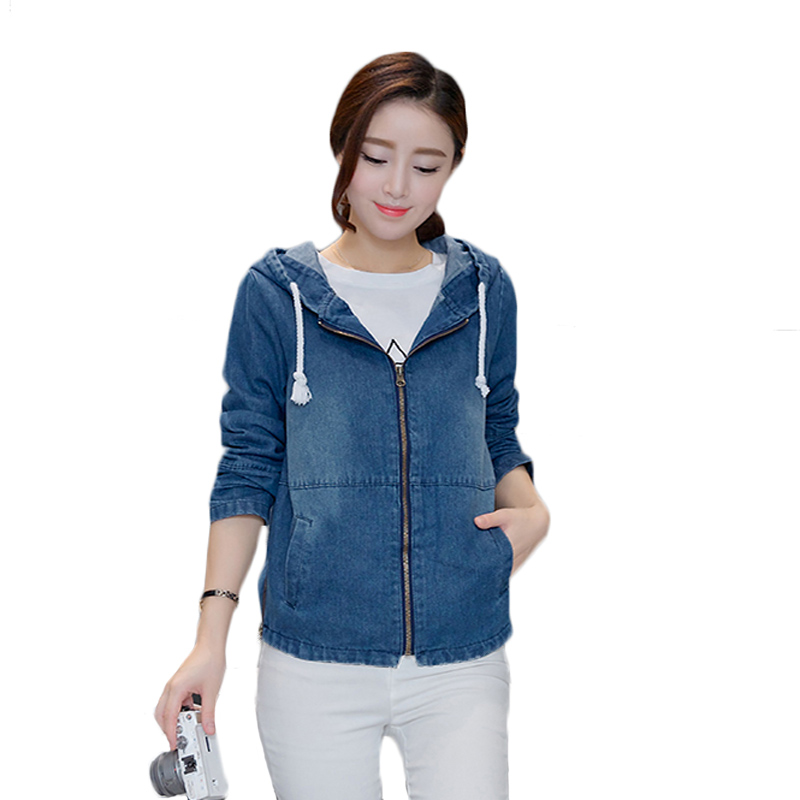 Newest Hooded Denim   Jacket   Coat Women 2019 Spring Autumn   Jacket   Women Plus Size Long Sleeve Kawaii Jeans   Basic     Jacket