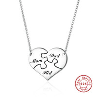 Authentic 925 Sterling Silver I Love My Family Puzzle Heart Pendant Necklaces For Women Sterling Silver