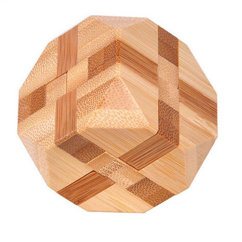 1 шт. бамбуковый развивающий замок 3D игрушка ручной работы для взрослых головоломка игра - Цвет: tetrakaidecahedron