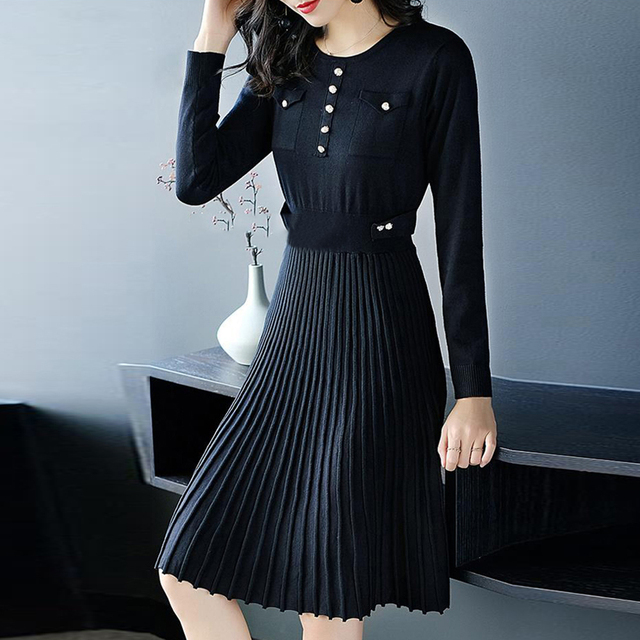 Women Pleated Knitted Office Dress Autumn Black Slim Elegant Button Casual Female Long Sleeve Midi Work Dresses Fashion Vestido