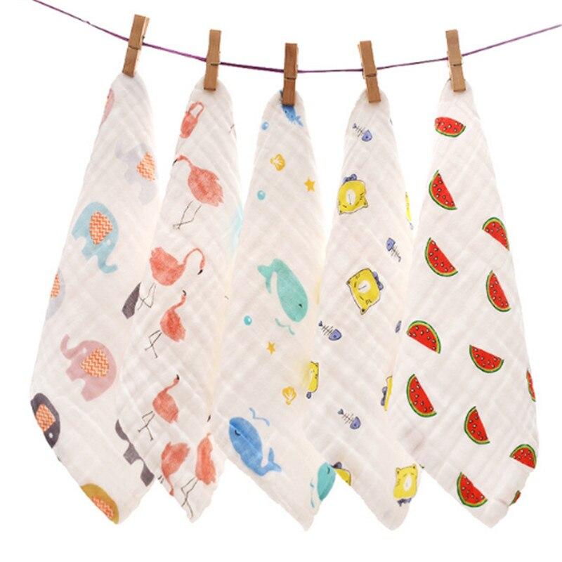 5 Pieces / Lot Cartoon Baby Cotton Handkerchiefs Square Pocket Hanky Printed Handkerchief Children Portable Towel 28*28CM AD0433