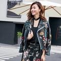 Ptslan 2016 Women's Genuine Lambskin Leather Jacket Real Leather Motorcycle Bomber Long Sleeve Zippe