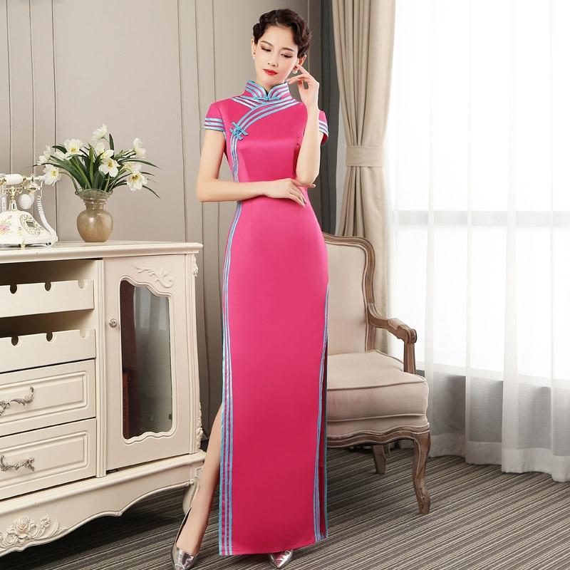 Fashion Maxi Party Cheongsam Oriental Evening Dress Chinese Long Style Women Elegant Qipao Mini Robe Vestido