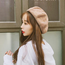 86efcf4e1c03d (Ship from US) 2018 New girls Beanies Knitted cap harajuku Ladies Hat  Autumn And Winter Warm Fashion Plaid Beret Painter Hat Dome Trend Warmer