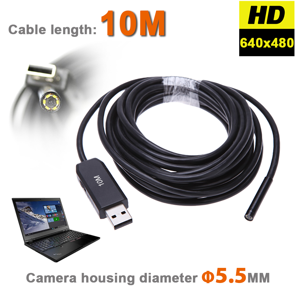 HD 720P 6LEDs 5.5MM USB Endoscopio Boroscopio Serpiente Inspección Tubo Tubo Video Mini cámara IP67 Impermeable con cable flexible de 2M