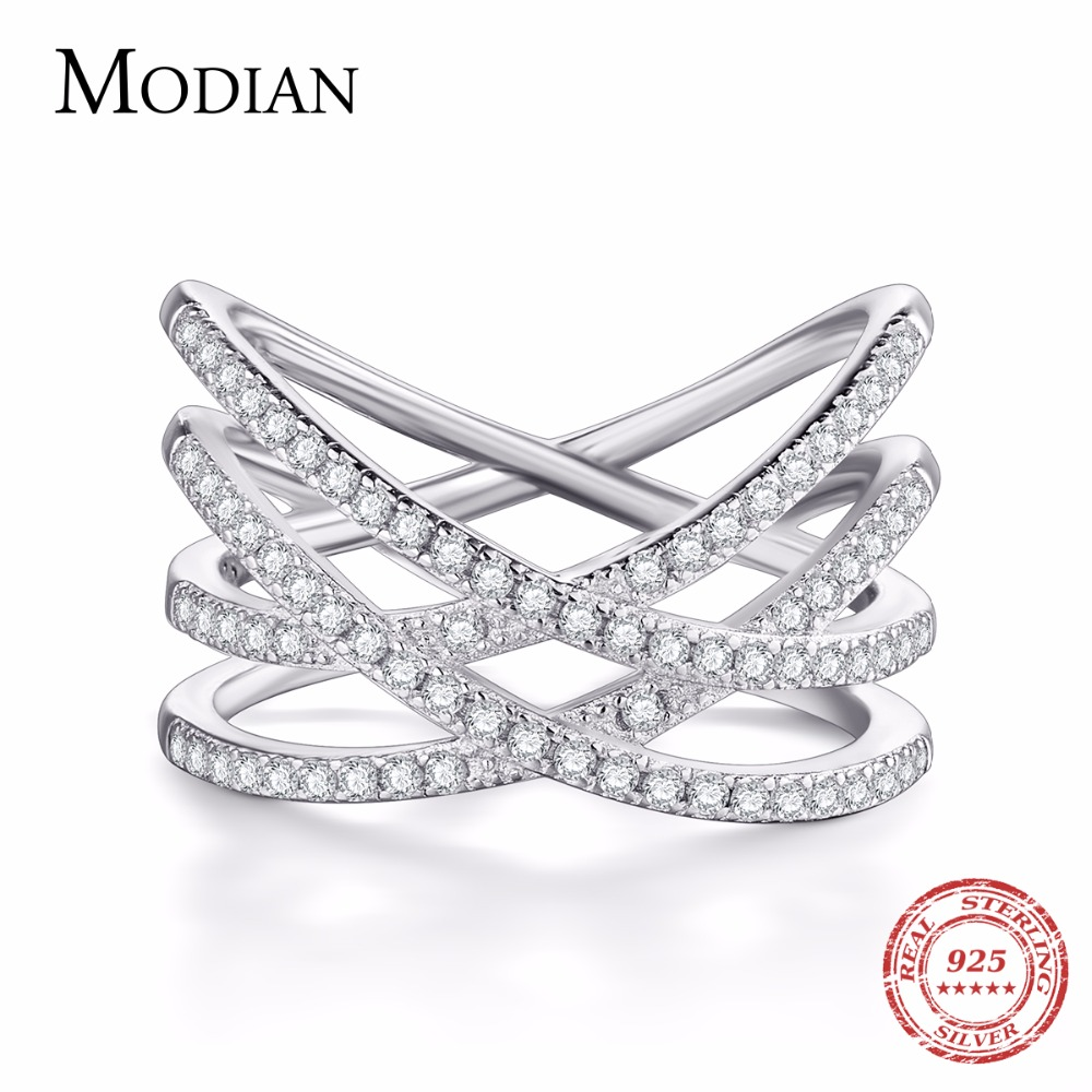Modian 2018 Authentic 925 Sterling Silver Simple Finger Ring Fashion Exaggerated Sparkling BRAIDED For Women Wedding Jewelry